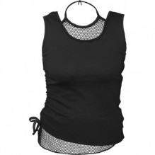 Top femmes GOTHIC ROCK - 2in1 Neck Tie Mesh Top Black